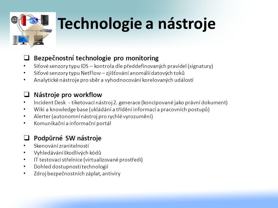 Technologie a nástroje  Bezpečnostní technologie pro monitoring Síťové senzory typu IDS – kontrola dle předdefinovaných pravidel (signatury) Síťové s