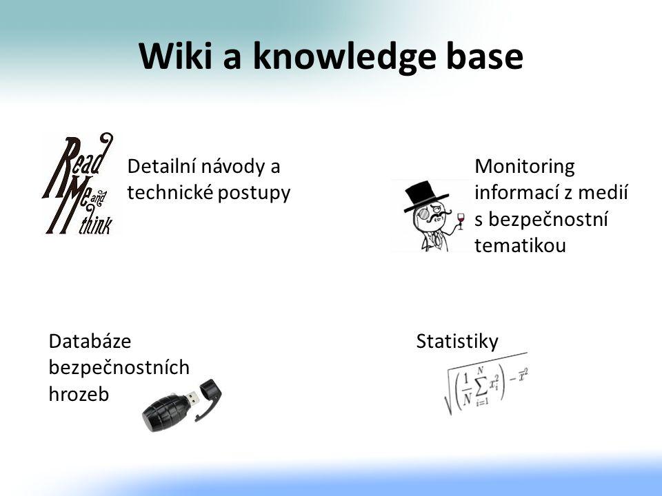 Wiki a knowledge base Detailní návody a technické postupy Databáze bezpečnostních hrozeb Monitoring informací z medií s bezpečnostní tematikou Statist