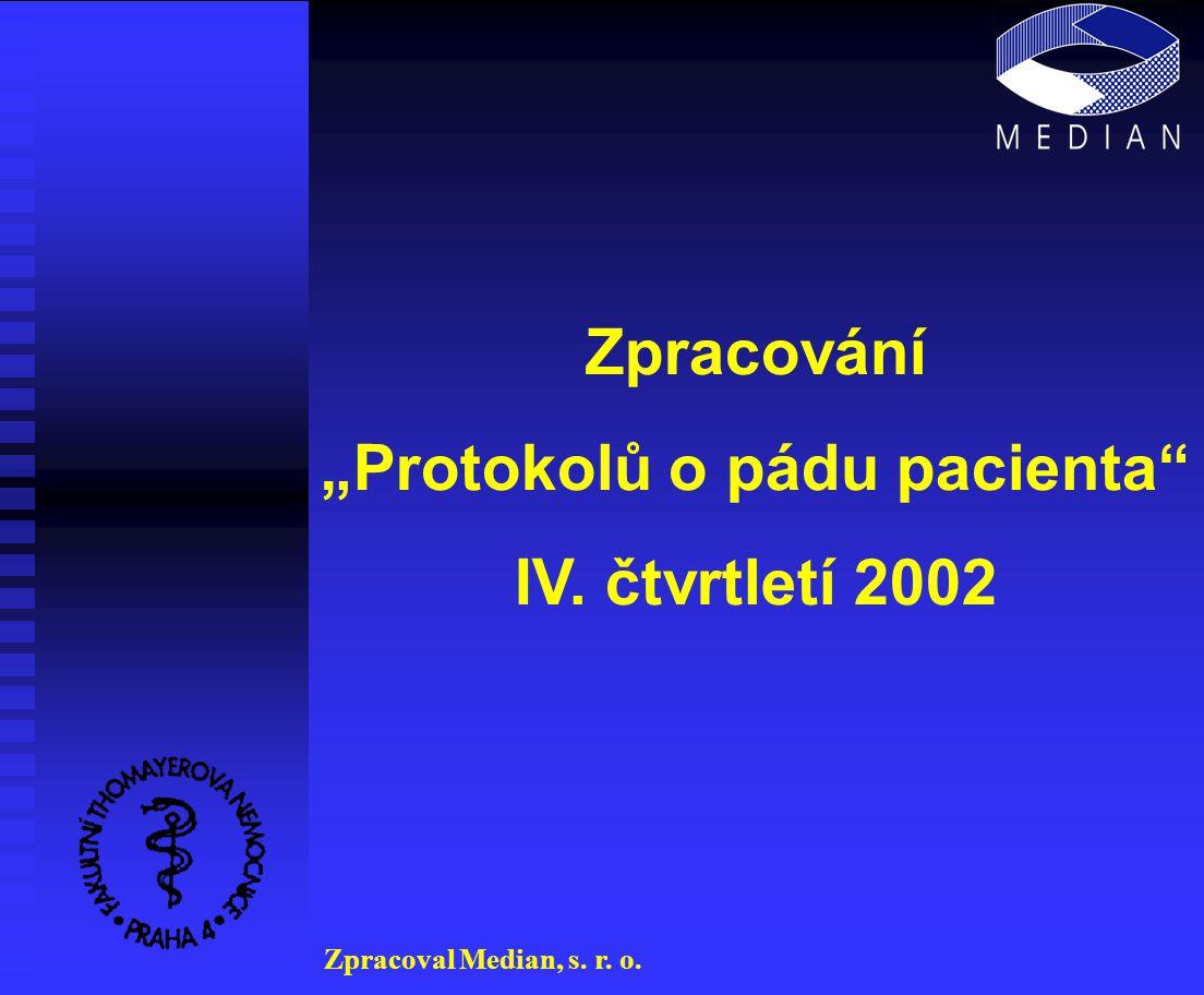 """Zpracování """"Protokolů o pádu pacienta IV. čtvrtletí 2002 Zpracoval Median, s. r. o."""