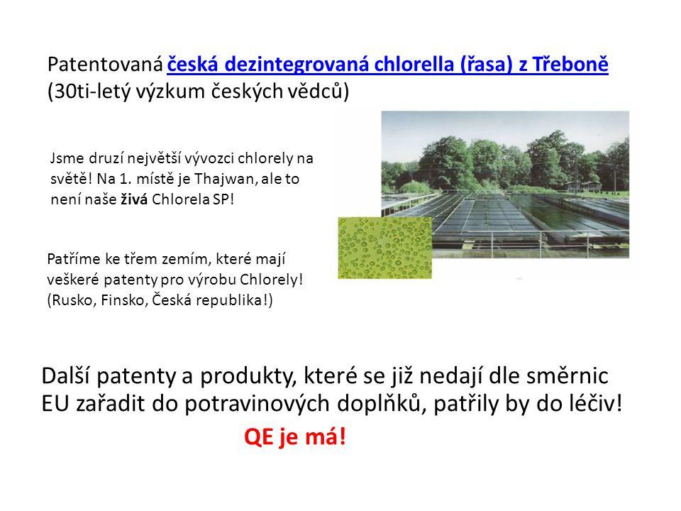 Další patenty a produkty, které se již nedají dle směrnic EU zařadit do potravinových doplňků, patřily by do léčiv! QE je má! Patentovaná česká dezint