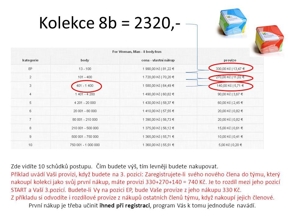 Kolekce 8b = 2320,- Zde vidíte 10 schůdků postupu. Čím budete výš, tím levněji budete nakupovat. Příklad uvádí Vaši provizi, když budete na 3. pozici: