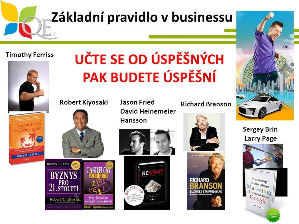 Základní pravidlo v businessu UČTE SE OD ÚSPĚŠNÝCH PAK BUDETE ÚSPĚŠNÍ Timothy Ferriss Robert KiyosakiJason Fried David Heinemeier Hansson Richard Bran