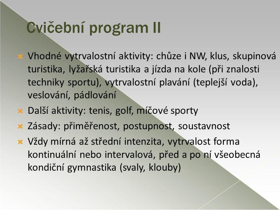 Cvičební program II  Vhodné vytrvalostní aktivity: chůze i NW, klus, skupinová turistika, lyžařská turistika a jízda na kole (při znalosti techniky s