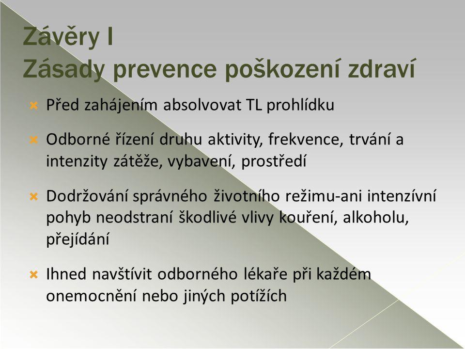 Závěry I Zásady prevence poškození zdraví  Před zahájením absolvovat TL prohlídku  Odborné řízení druhu aktivity, frekvence, trvání a intenzity zátě