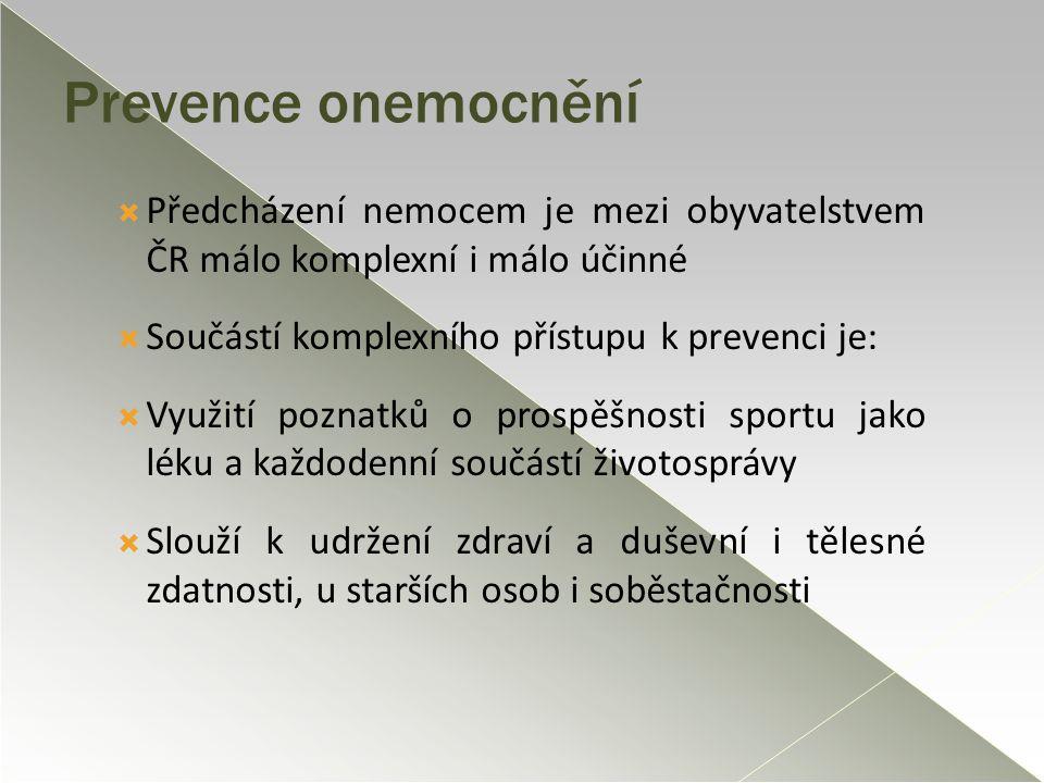 Prevence onemocnění  Předcházení nemocem je mezi obyvatelstvem ČR málo komplexní i málo účinné  Součástí komplexního přístupu k prevenci je:  Využi