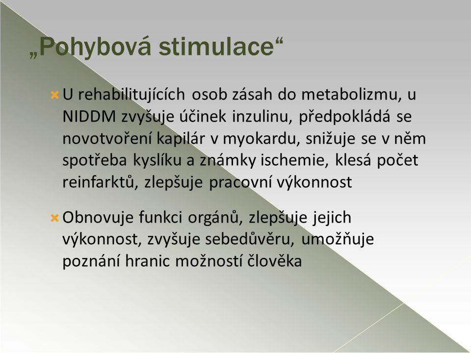 """""""Pohybová stimulace""""  U rehabilitujících osob zásah do metabolizmu, u NIDDM zvyšuje účinek inzulinu, předpokládá se novotvoření kapilár v myokardu, s"""