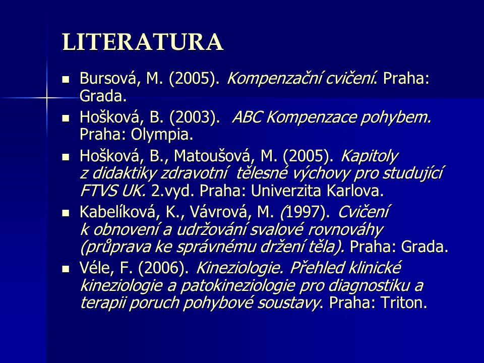 LITERATURA Bursová, M. (2005). Kompenzační cvičení. Praha: Grada. Bursová, M. (2005). Kompenzační cvičení. Praha: Grada. Hošková, B. (2003). ABC Kompe