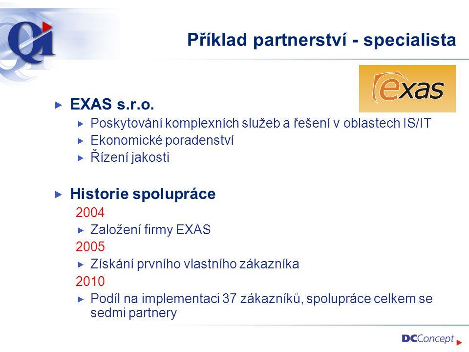 Příklad partnerství - specialista  EXAS s.r.o.