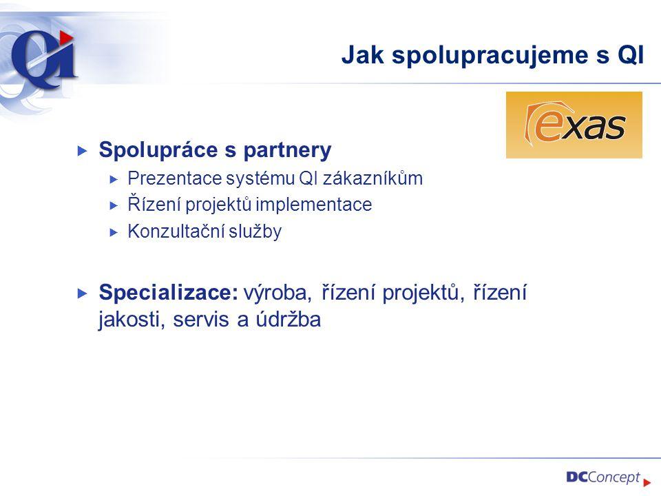 Jak spolupracujeme s QI  Spolupráce s partnery  Prezentace systému QI zákazníkům  Řízení projektů implementace  Konzultační služby  Specializace: výroba, řízení projektů, řízení jakosti, servis a údržba