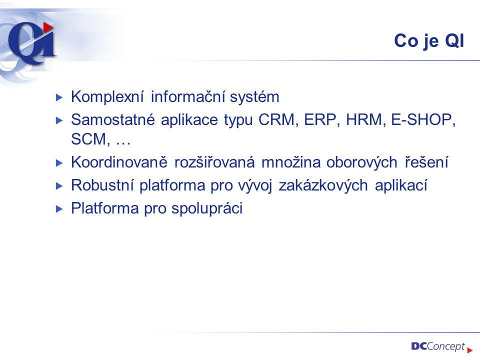 Co je QI  Komplexní informační systém  Samostatné aplikace typu CRM, ERP, HRM, E-SHOP, SCM, …  Koordinovaně rozšiřovaná množina oborových řešení  Robustní platforma pro vývoj zakázkových aplikací  Platforma pro spolupráci