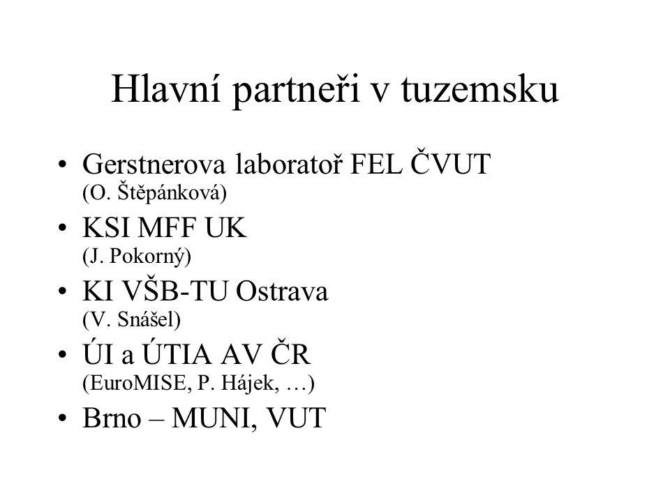 Hlavní partneři v tuzemsku Gerstnerova laboratoř FEL ČVUT (O. Štěpánková) KSI MFF UK (J. Pokorný) KI VŠB-TU Ostrava (V. Snášel) ÚI a ÚTIA AV ČR (EuroM