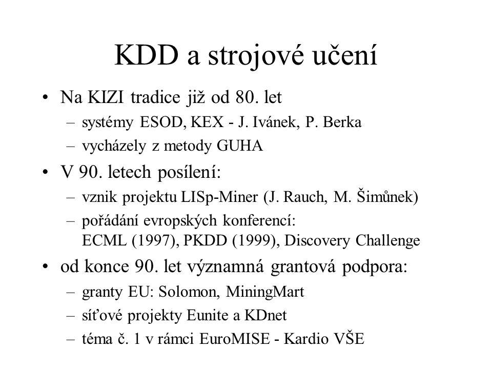 KDD a strojové učení Na KIZI tradice již od 80. let –systémy ESOD, KEX - J. Ivánek, P. Berka –vycházely z metody GUHA V 90. letech posílení: –vznik pr