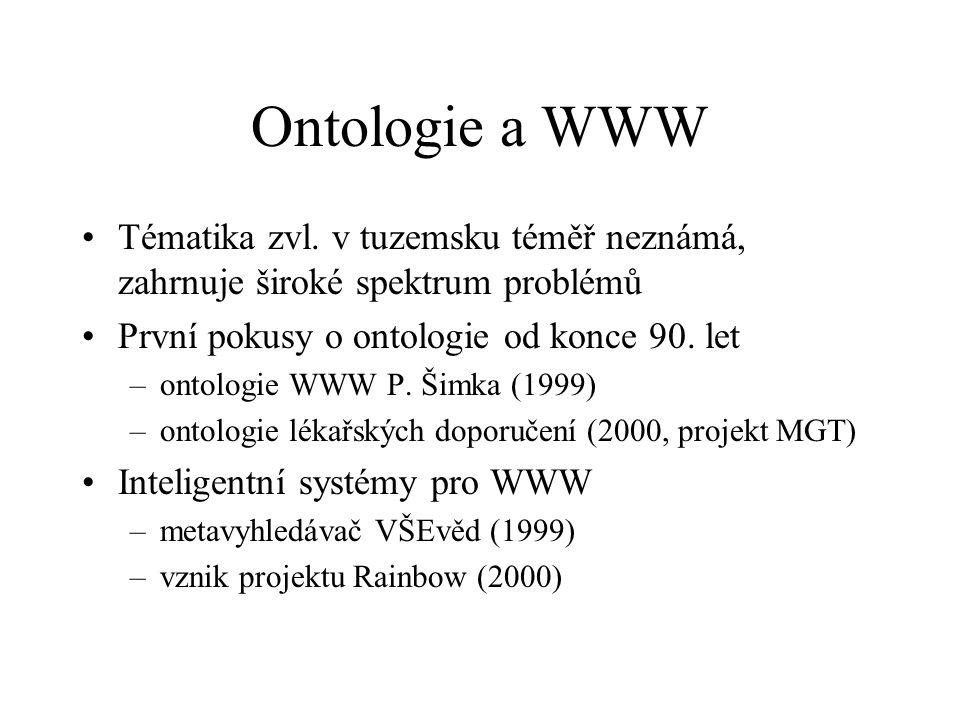 Ontologie a WWW Tématika zvl. v tuzemsku téměř neznámá, zahrnuje široké spektrum problémů První pokusy o ontologie od konce 90. let –ontologie WWW P.