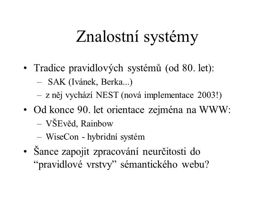 Znalostní systémy Tradice pravidlových systémů (od 80. let): – SAK (Ivánek, Berka...) –z něj vychází NEST (nová implementace 2003!) Od konce 90. let o