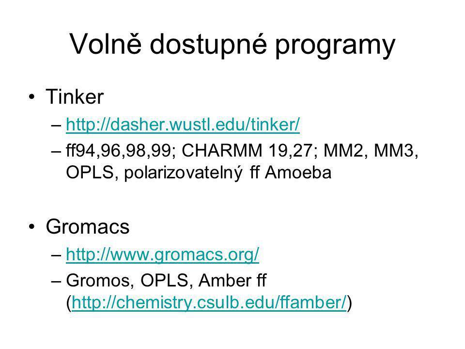 Volně dostupné programy Tinker –http://dasher.wustl.edu/tinker/http://dasher.wustl.edu/tinker/ –ff94,96,98,99; CHARMM 19,27; MM2, MM3, OPLS, polarizovatelný ff Amoeba Gromacs –http://www.gromacs.org/http://www.gromacs.org/ –Gromos, OPLS, Amber ff (http://chemistry.csulb.edu/ffamber/)http://chemistry.csulb.edu/ffamber/