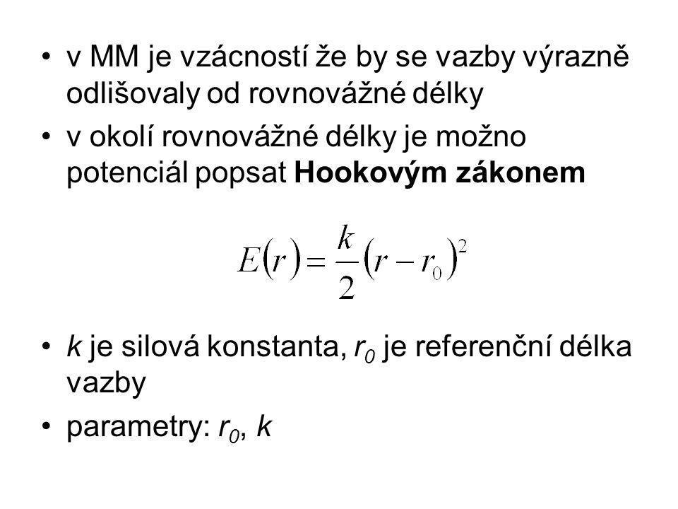v MM je vzácností že by se vazby výrazně odlišovaly od rovnovážné délky v okolí rovnovážné délky je možno potenciál popsat Hookovým zákonem k je silová konstanta, r 0 je referenční délka vazby parametry: r 0, k