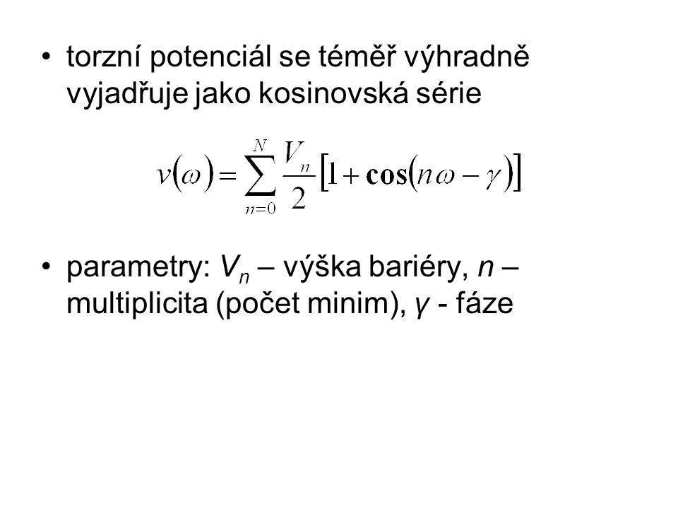 torzní potenciál se téměř výhradně vyjadřuje jako kosinovská série parametry: V n – výška bariéry, n – multiplicita (počet minim), γ - fáze