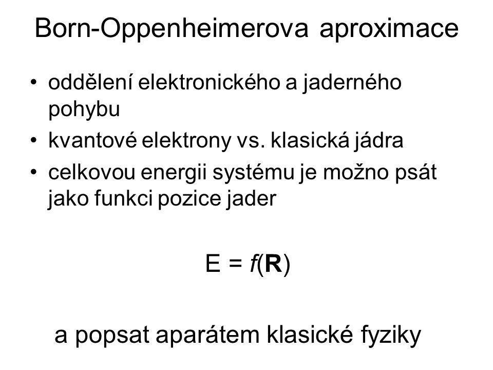 PES (Potential Energy Surface) přímý důsledek Born-Oppenheimerovy aproximace energie molekuly v základním stavu je funkcí toliko souřadnic jejích jader –při změně polohy jader se mění energie molekuly –změna polohy – např.