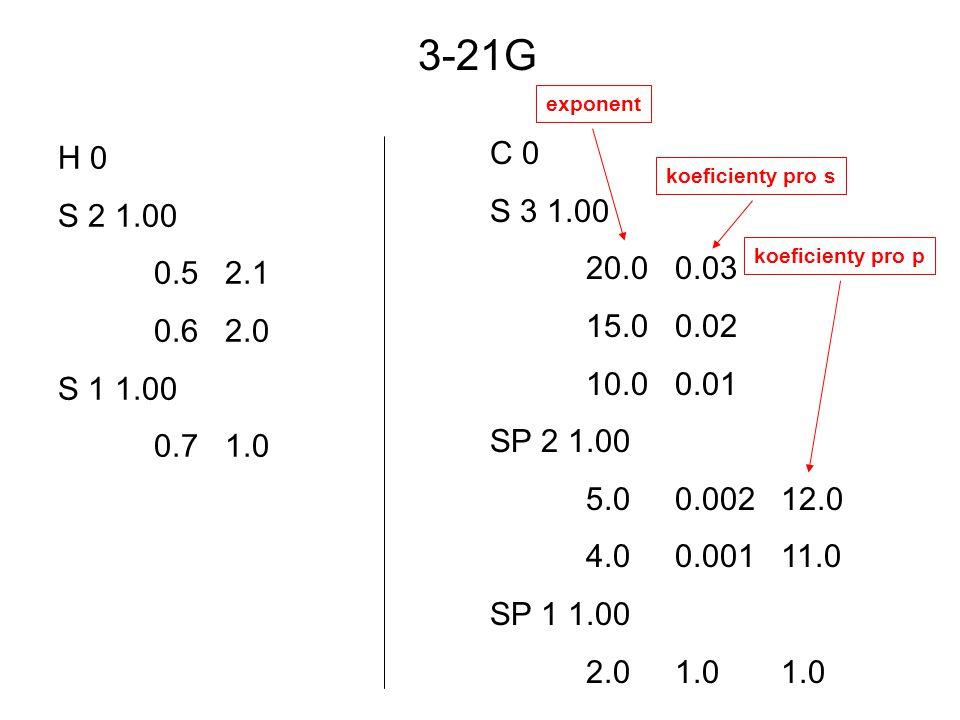 H 0 S 2 1.00 0.5 2.1 0.6 2.0 S 1 1.00 0.7 1.0 C 0 S 3 1.00 20.0 0.03 15.0 0.02 10.0 0.01 SP 2 1.00 5.0 0.002 12.0 4.0 0.001 11.0 SP 1 1.00 2.0 1.0 1.0 3-21G exponent koeficienty pro s koeficienty pro p