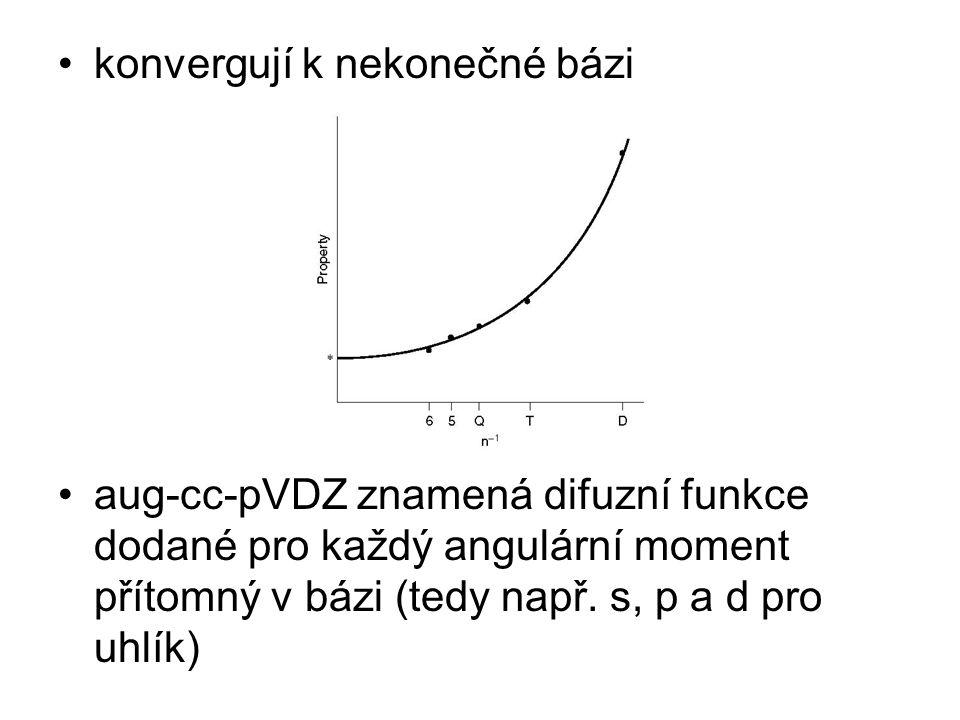 konvergují k nekonečné bázi aug-cc-pVDZ znamená difuzní funkce dodané pro každý angulární moment přítomný v bázi (tedy např.
