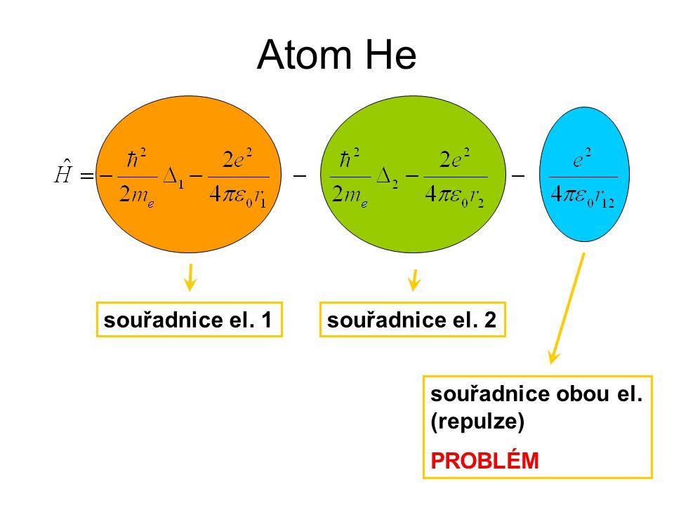 Atom He souřadnice el. 1souřadnice el. 2 souřadnice obou el. (repulze) PROBLÉM