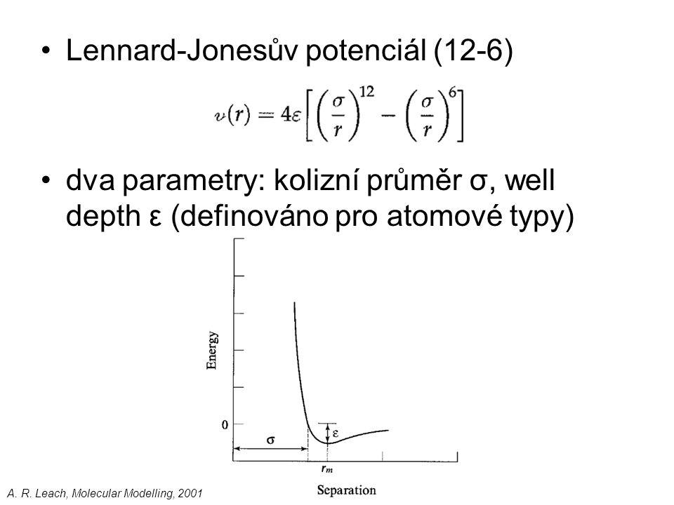 Lennard-Jonesův potenciál (12-6) dva parametry: kolizní průměr σ, well depth ε (definováno pro atomové typy) A. R. Leach, Molecular Modelling, 2001