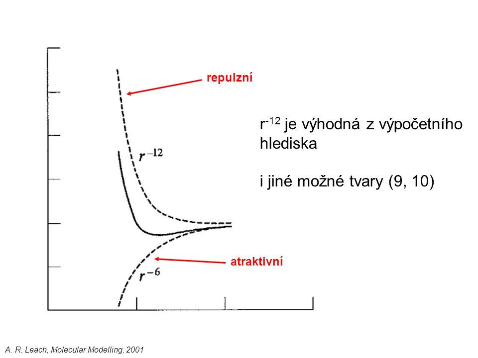 atraktivní repulzní r -12 je výhodná z výpočetního hlediska i jiné možné tvary (9, 10) A. R. Leach, Molecular Modelling, 2001