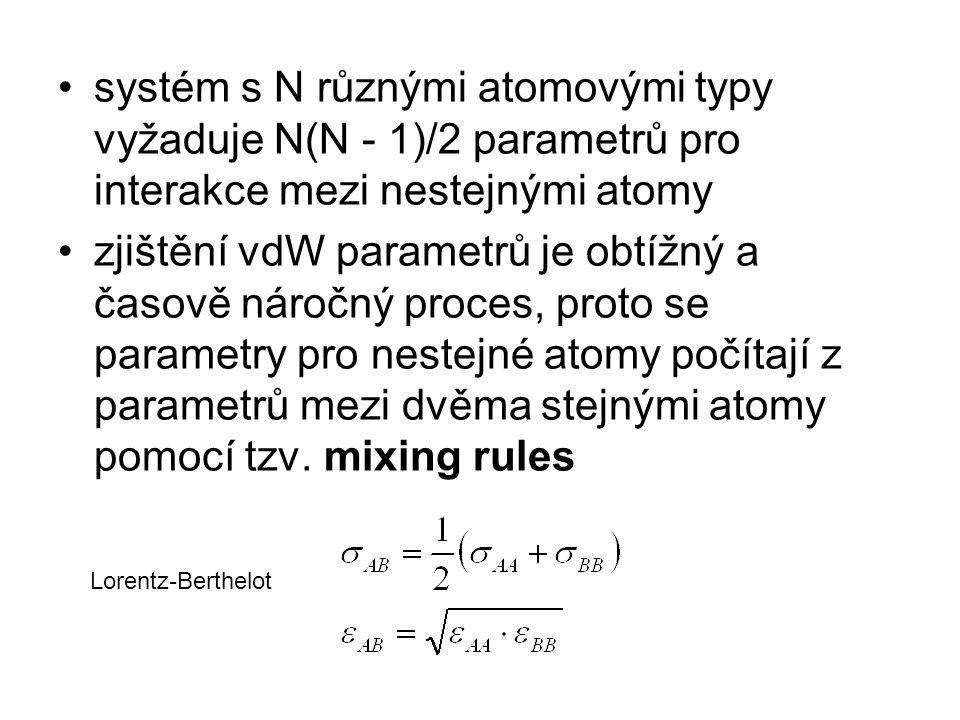systém s N různými atomovými typy vyžaduje N(N - 1)/2 parametrů pro interakce mezi nestejnými atomy zjištění vdW parametrů je obtížný a časově náročný