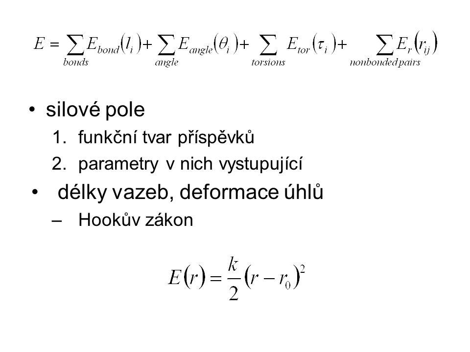 silové pole 1.funkční tvar příspěvků 2.parametry v nich vystupující délky vazeb, deformace úhlů –Hookův zákon