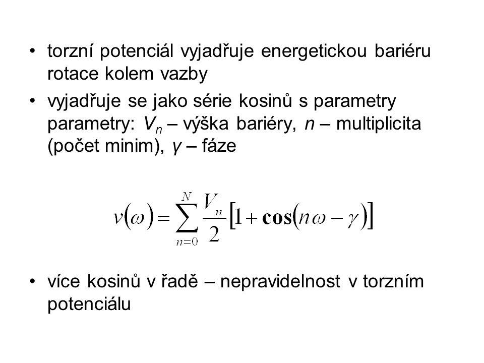 torzní potenciál vyjadřuje energetickou bariéru rotace kolem vazby vyjadřuje se jako série kosinů s parametry parametry: V n – výška bariéry, n – mult