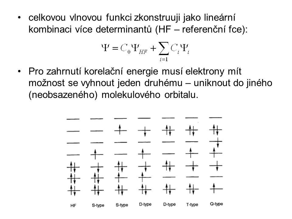 celkovou vlnovou funkci zkonstruuji jako lineární kombinaci více determinantů (HF – referenční fce): Pro zahrnutí korelační energie musí elektrony mít
