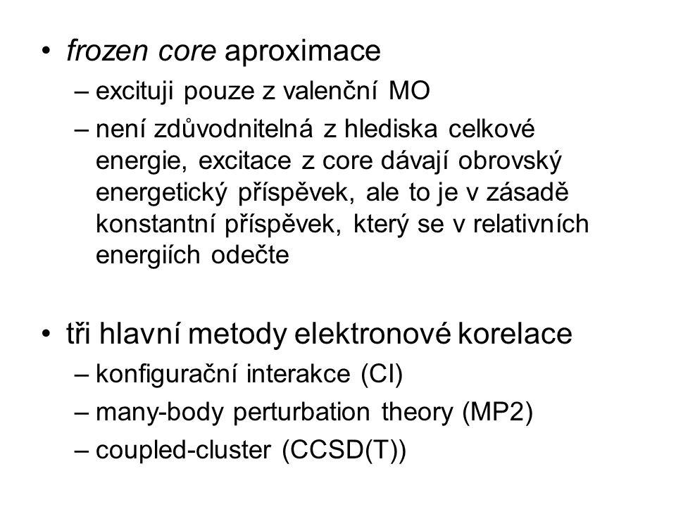 frozen core aproximace –excituji pouze z valenční MO –není zdůvodnitelná z hlediska celkové energie, excitace z core dávají obrovský energetický přísp