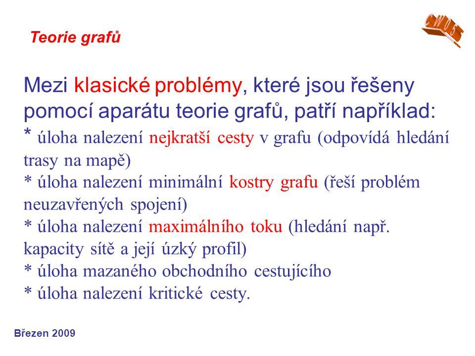 Mezi klasické problémy, které jsou řešeny pomocí aparátu teorie grafů, patří například: * úloha nalezení nejkratší cesty v grafu (odpovídá hledání tra