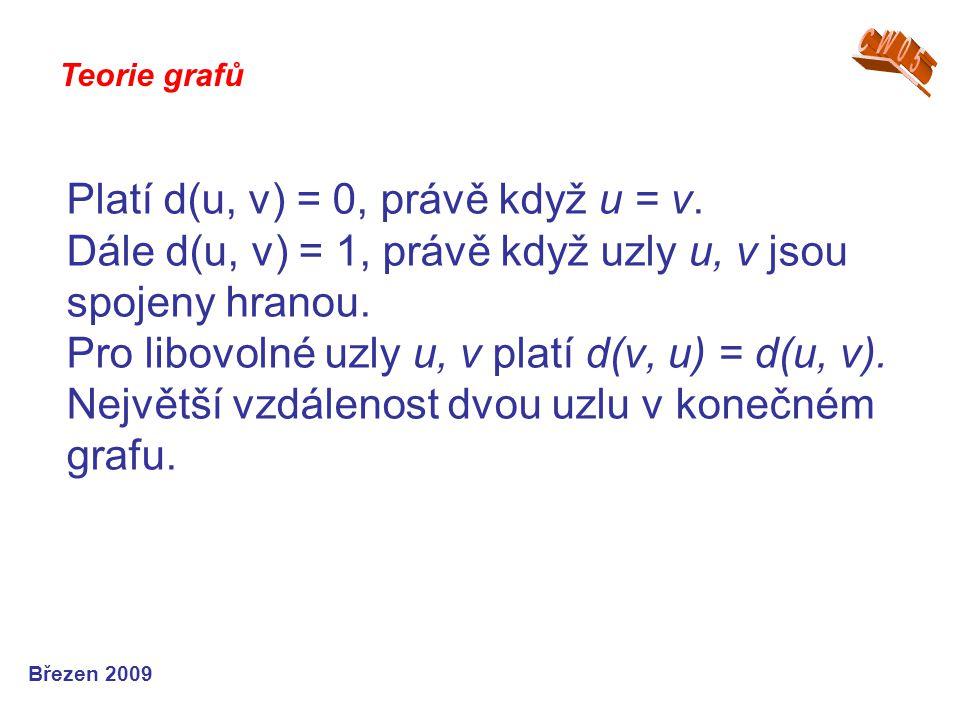 Teorie grafů Březen 2009 Platí d(u, v) = 0, právě když u = v. Dále d(u, v) = 1, právě když uzly u, v jsou spojeny hranou. Pro libovolné uzly u, v plat