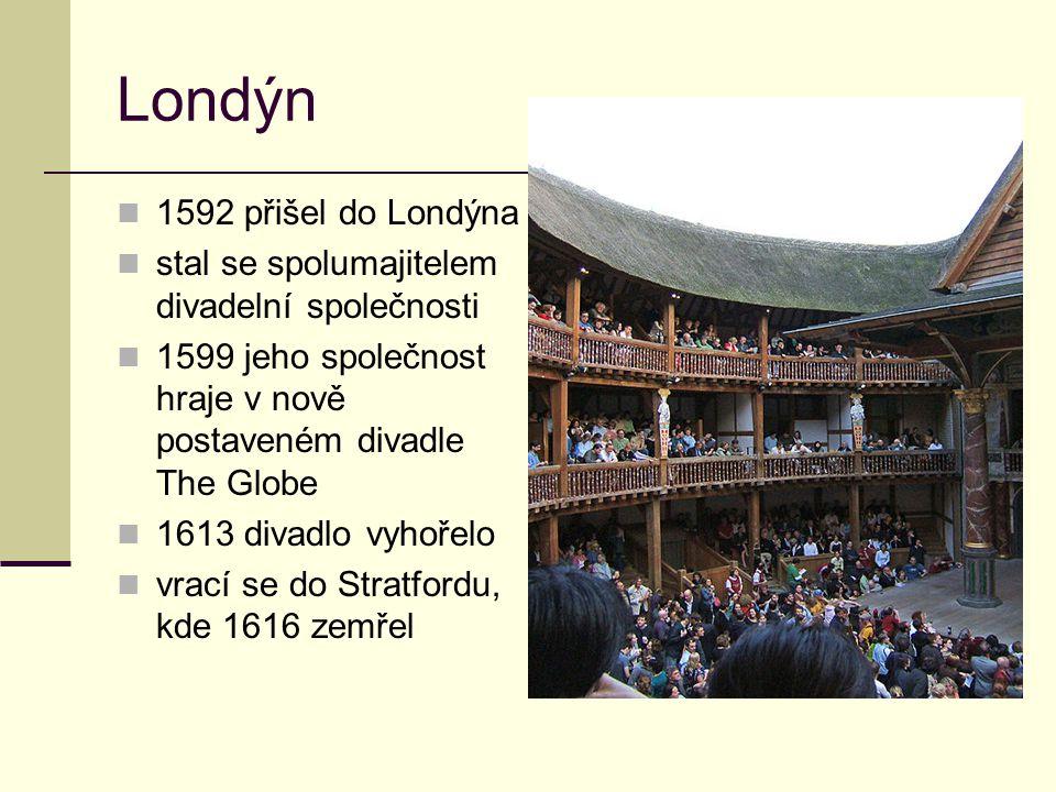 Londýn 1592 přišel do Londýna stal se spolumajitelem divadelní společnosti 1599 jeho společnost hraje v nově postaveném divadle The Globe 1613 divadlo