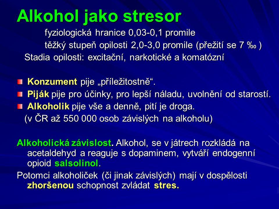 """Alkohol jako stresor fyziologická hranice 0,03-0,1 promile fyziologická hranice 0,03-0,1 promile těžký stupeň opilosti 2,0-3,0 promile (přežití se 7 ‰ ) Stadia opilosti: excitační, narkotické a komatózní Stadia opilosti: excitační, narkotické a komatózní Konzument pije """"příležitostně ."""