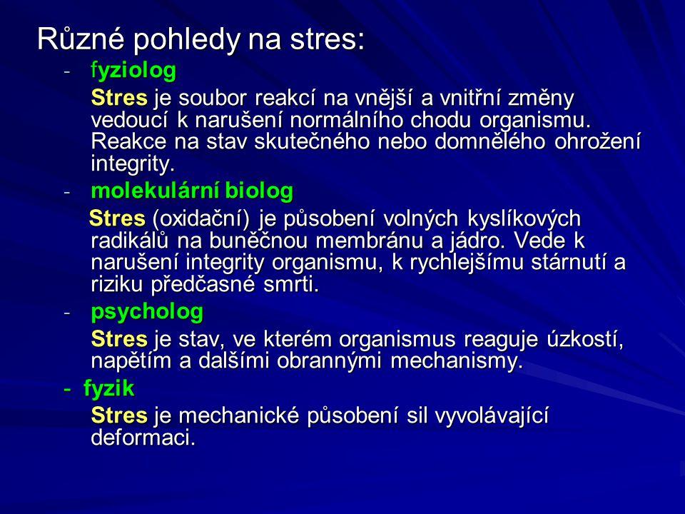 Obecně stres vede k narušení integrity (celistvosti) domnělé či skutečné Současné pohledy na stres vychází ze dvou základních koncepcí: fyziologické, nespecifické (založené na obecných poznatcích) psychologické, specifické (vycházejících ze specifik každého jednotlivce) René Descartes (od 17.stol.) – dualismus duše a těla