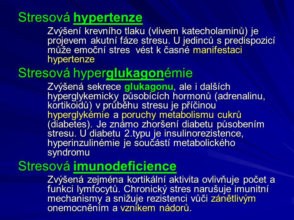 Stresová hypertenze Zvýšení krevního tlaku (vlivem katecholaminů) je projevem akutní fáze stresu.