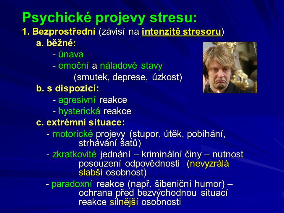 Psychické projevy stresu: 1.Bezprostřední (závisí na intenzitě stresoru) a.
