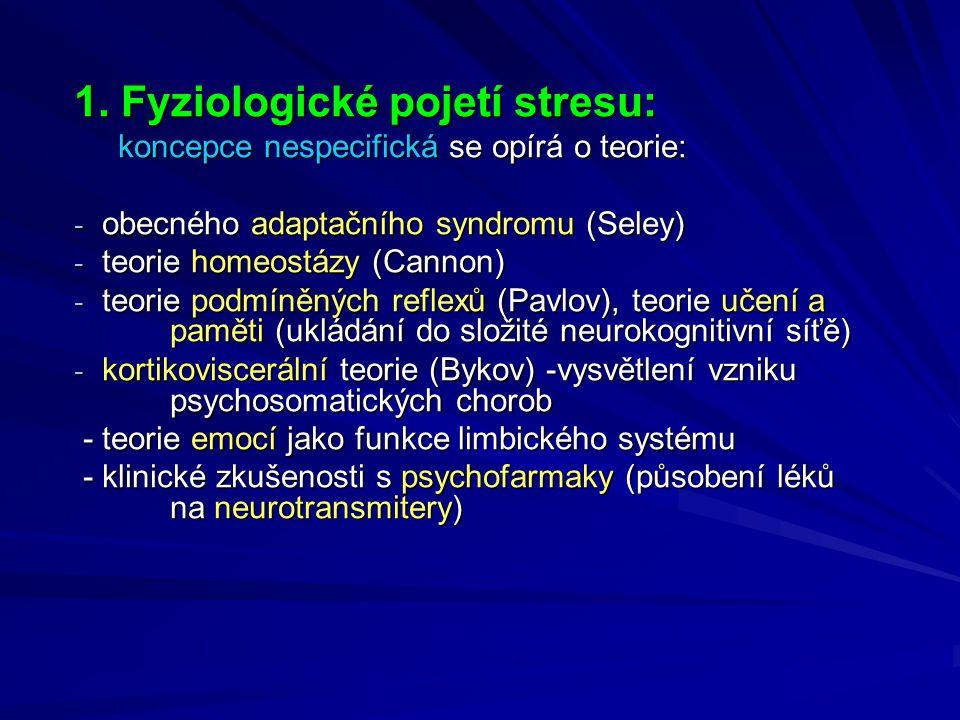 1. Fyziologické pojetí stresu: koncepce nespecifická se opírá o teorie: koncepce nespecifická se opírá o teorie: - obecného adaptačního syndromu (Sele