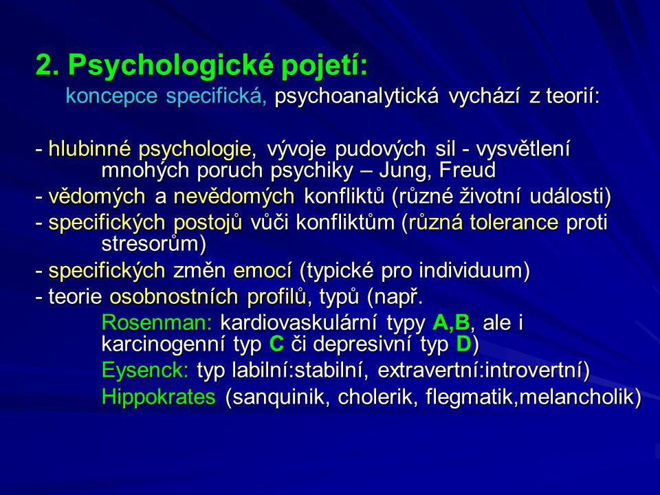 2. Psychologické pojetí: koncepce specifická, psychoanalytická vychází z teorií: koncepce specifická, psychoanalytická vychází z teorií: - hlubinné ps