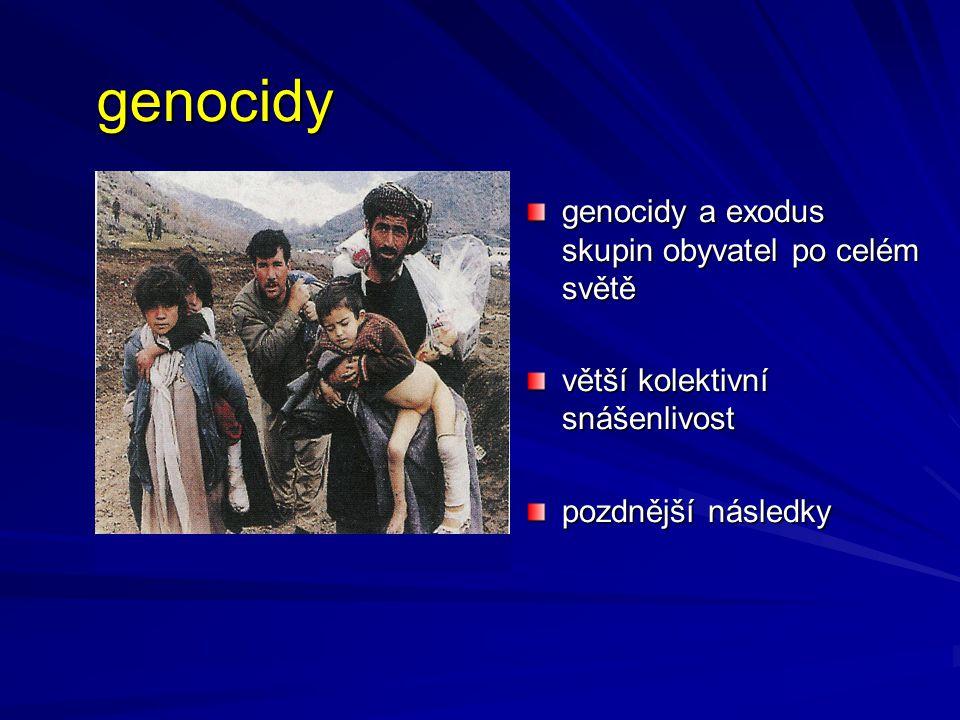 genocidy genocidy a exodus skupin obyvatel po celém světě větší kolektivní snášenlivost pozdnější následky