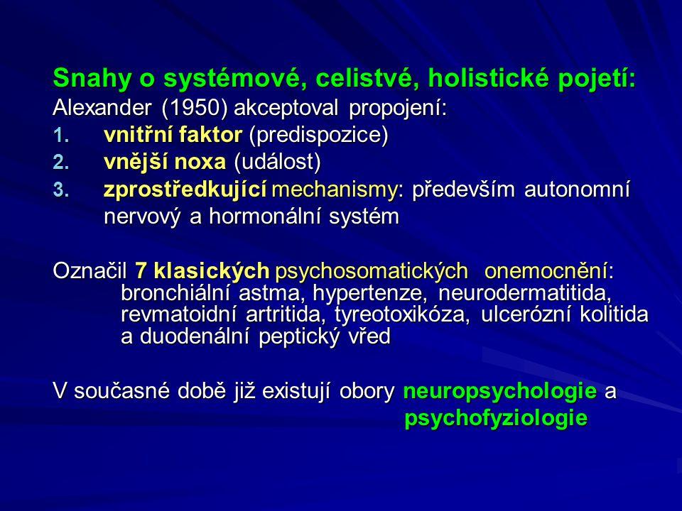 Snahy o systémové, celistvé, holistické pojetí: Alexander (1950) akceptoval propojení: 1.