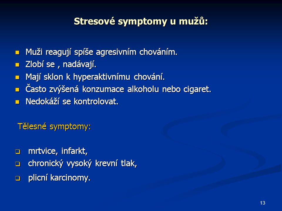 13 Stresové symptomy u mužů: Muži reagují spíše agresivním chováním. Muži reagují spíše agresivním chováním. Zlobí se, nadávají. Zlobí se, nadávají. M
