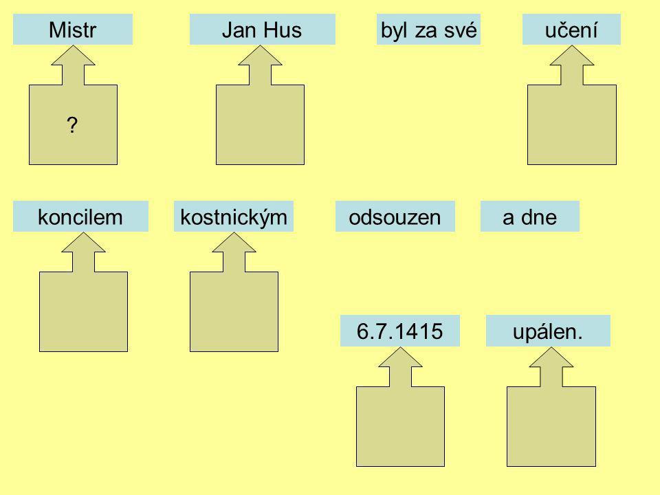 MistrJan Husbyl za svéučení odsouzenkoncilemkostnickýma dne 6.7.1415upálen. ?