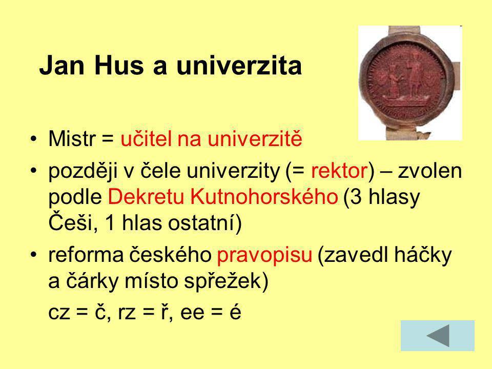 Jan Hus a univerzita Mistr = učitel na univerzitě později v čele univerzity (= rektor) – zvolen podle Dekretu Kutnohorského (3 hlasy Češi, 1 hlas osta