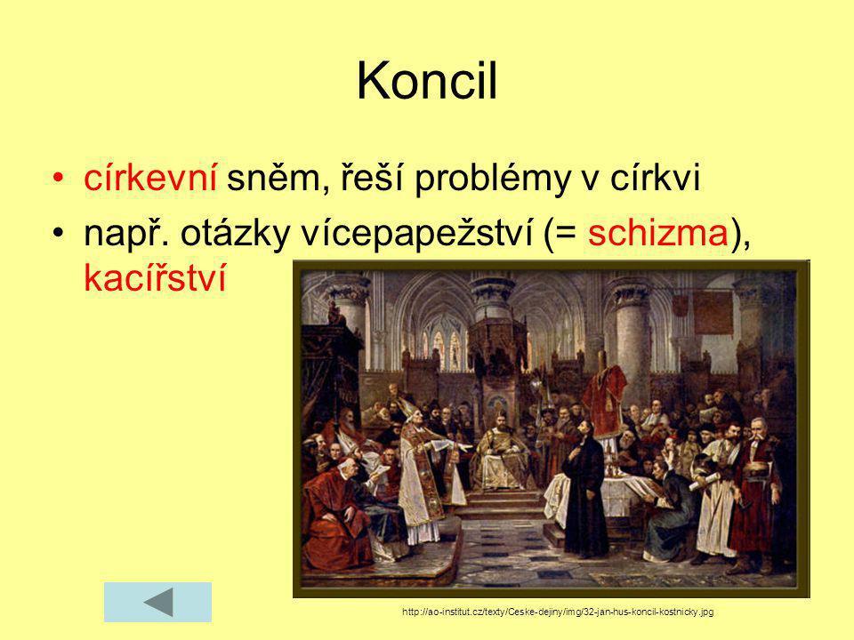 Koncil církevní sněm, řeší problémy v církvi např. otázky vícepapežství (= schizma), kacířství http://ao-institut.cz/texty/Ceske-dejiny/img/32-jan-hus