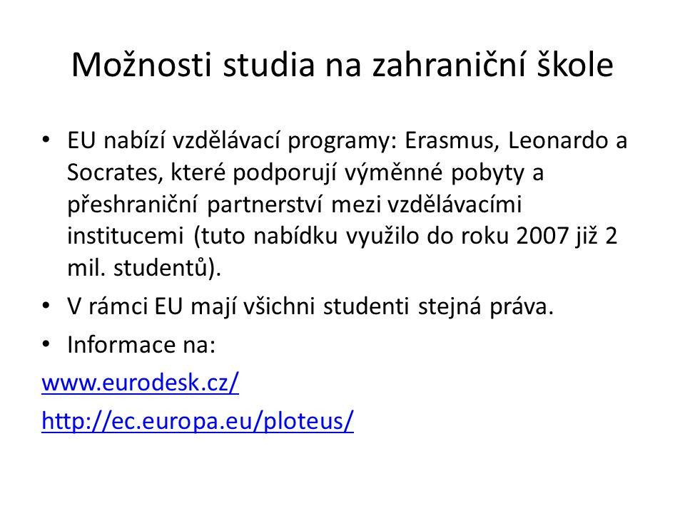 Možnosti studia na zahraniční škole EU nabízí vzdělávací programy: Erasmus, Leonardo a Socrates, které podporují výměnné pobyty a přeshraniční partnerství mezi vzdělávacími institucemi (tuto nabídku využilo do roku 2007 již 2 mil.