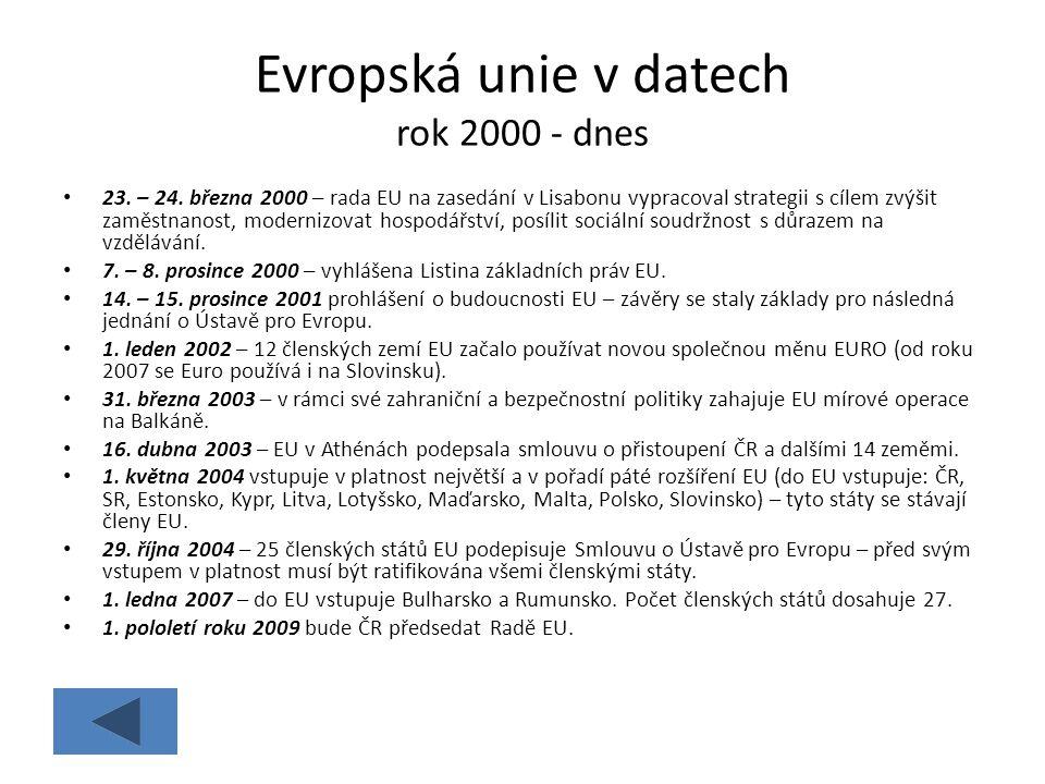 Evropská unie v datech rok 2000 - dnes 23. – 24. března 2000 – rada EU na zasedání v Lisabonu vypracoval strategii s cílem zvýšit zaměstnanost, modern