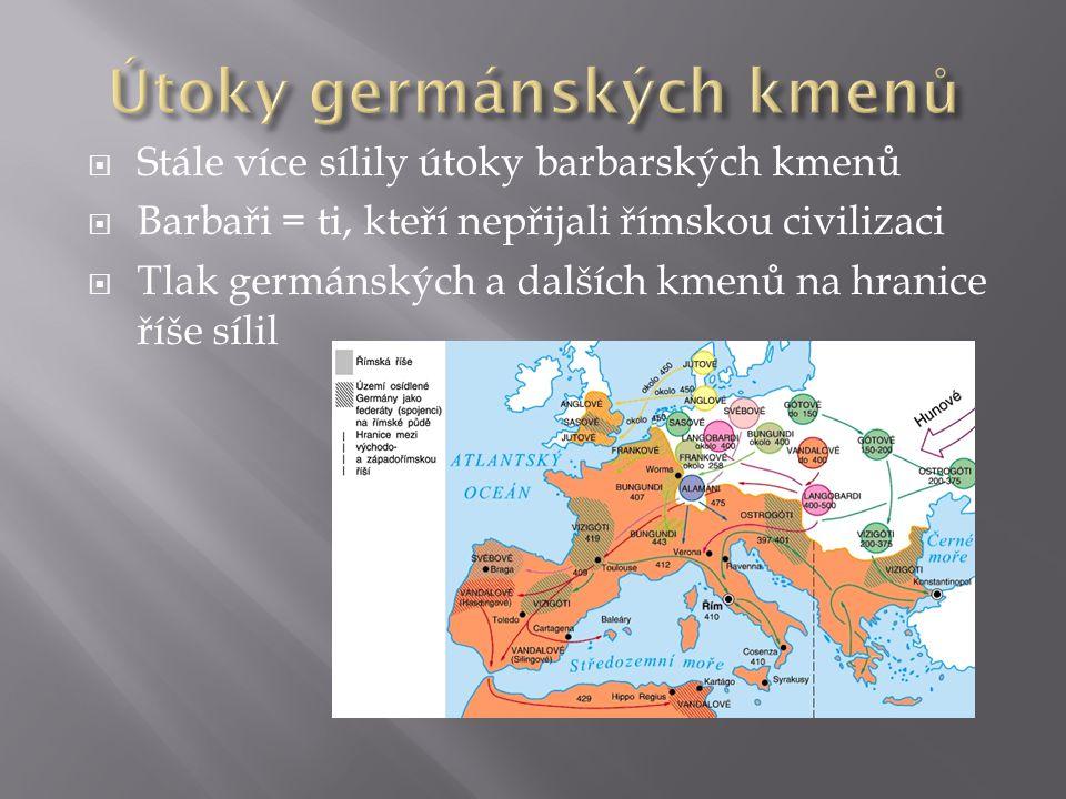  Stále více sílily útoky barbarských kmenů  Barbaři = ti, kteří nepřijali římskou civilizaci  Tlak germánských a dalších kmenů na hranice říše síli